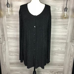 Vikki Vi Black Dotted Button Shirt Size 3X